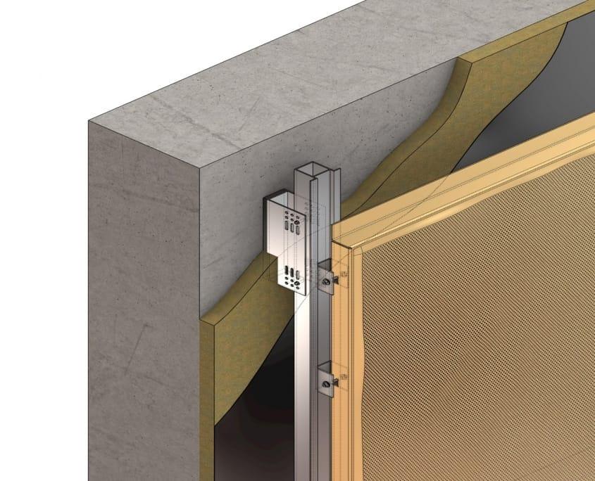 3D metal facade cassette non visible mounting